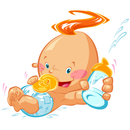 Cartoon character illustration of an adorable laughing baby infant boy with milk bottle formula and pacifier