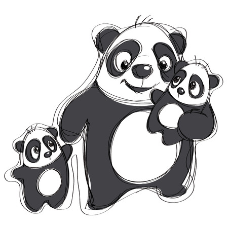 Cartoon vector pandas illustration in a naif simple childish drawing style isolated in white background Vettoriali