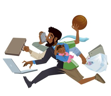 Cartoon super busy black man and father multitask doing many works running to the office shopping playing basketball working and talking on the phone while his baby girl sleeping
