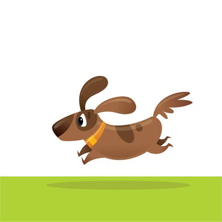 Cute excited cartoon brown dog running in the green field vector cartoon illustration