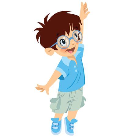 Simpatico ragazzino sorridente con gli occhiali che cerca di raggiungere qualcosa mentre guarda in alto