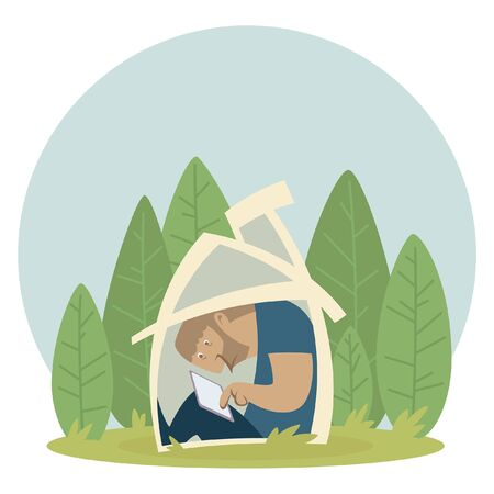 Funny image of a huge introverted man in isolation in his tiny house that does not fit him. A vector clipart illustration isolated in white background.
