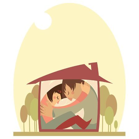 A quarantine concept image of a man and a woman in isolation hugged inside their tiny house that does not fit them. A vector clipart illustration isolated in white background.