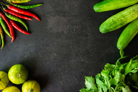 Gathering of vegetables on black background, with Free Space for text, Top View