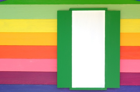 Bright color wood window Stock Photo