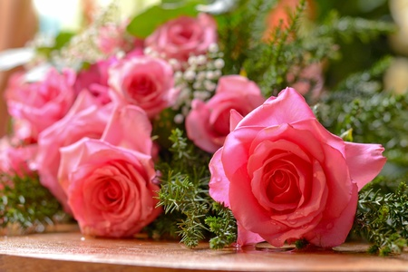 A bouquet of pink roses Stock Photo