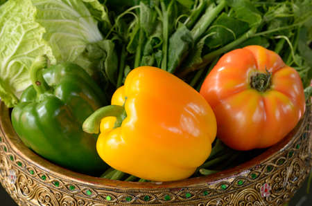 Sweet peppers in a container Stock Photo - 12669198