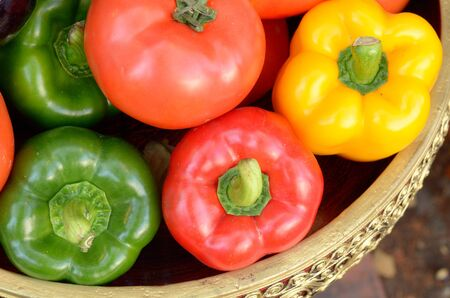Sweet peppers in a container Stock Photo - 12669230