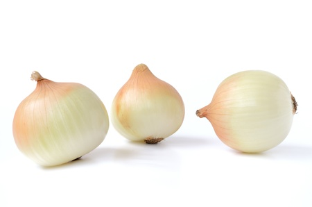 Yellow onions isolated on white background photo