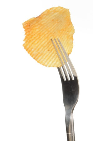 Potato chips on a fork isolated on white background