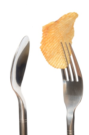 Potato chips on a fork and empty spoon isolated on white background
