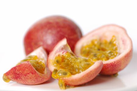 Passion fruits on a white background photo