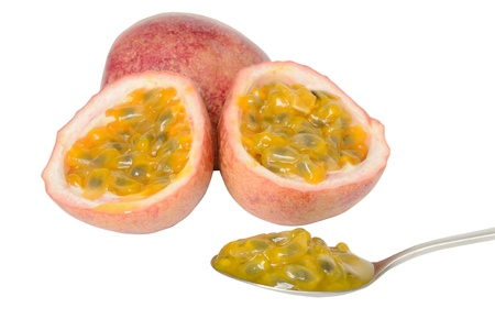 Passion fruits on a white background Stock Photo - 14568073