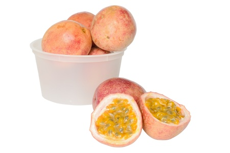 Passion fruits on a white background Stock Photo - 14568072