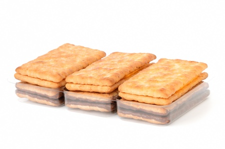Several crackers on white background Stock Photo - 16932340