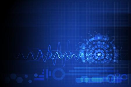 shinning: azul resumen ilustraci�n vectorial de fondo con forma de onda c�rculo brillo del dise�o del punto para la ciencia y la tecnolog�a concepto