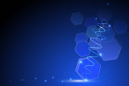 blue abstract technology background illustration with hexagonal shape shinning dot and light wave form