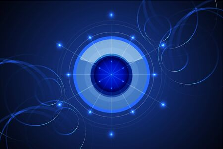 shinning light: blue abstract technology background illustration with circle shinning dot and light line
