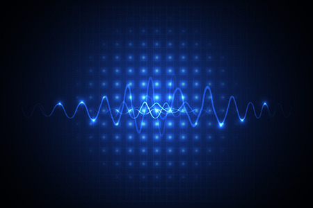 vague: bleu technologie fond abstrait illustration avec le point shinning et forme d'onde Illustration