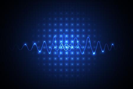 technology: blu astratto tecnologia sfondo illustrazione con punto shinning e la forma d'onda