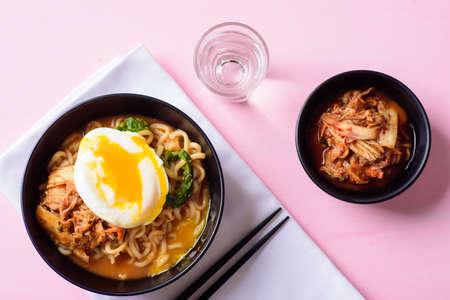 Korean food, kimchi spicy noodles soup