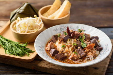 Northern Thai food (Khanom jeen nam ngeaw), local and culture food that is unique of Thailand