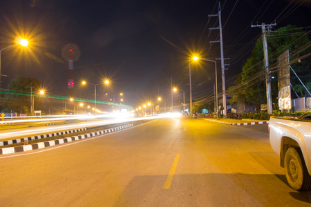 Photo light the way at night in the beautiful city prosper. Stock Photo