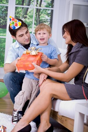 parents and a boy celebrating birthday Stock Photo - 8685547