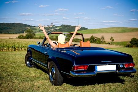 luxury car: woman & car