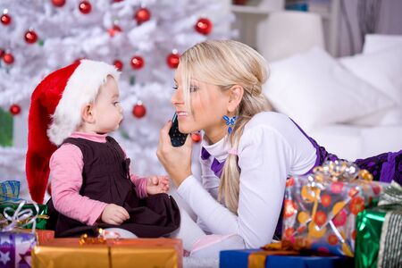 portrait of a little girl with Santa Claus hat by calling Stock Photo - 8723306
