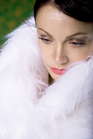 portrait of a young woman in a fur photo