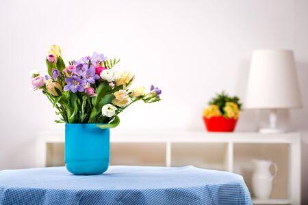 ranunculus: bunch of freesias, tulips, ranunculus and hyacinths Stock Photo
