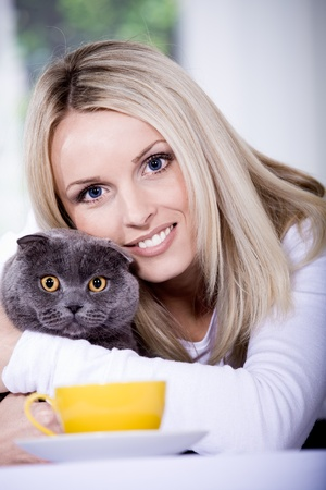a young woman in the kitchen with a scottish shorthair cat photo