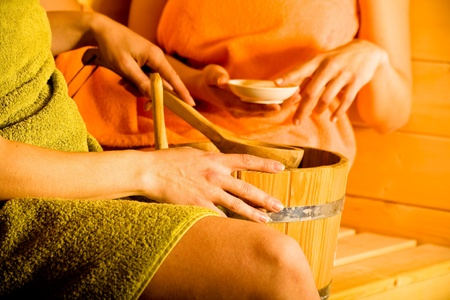 two young women in the sauna photo
