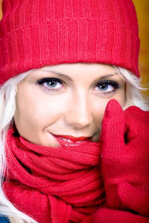 portrait of young a woman with wool scarf photo