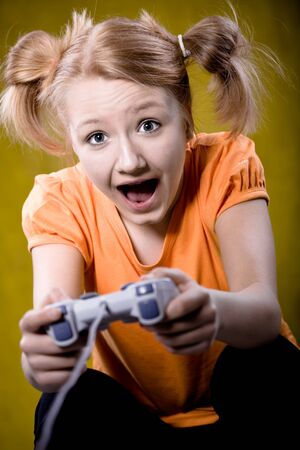 young girl playing computer game