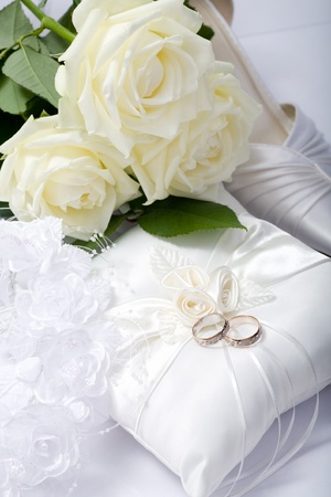 wedding still life scene with rings photo
