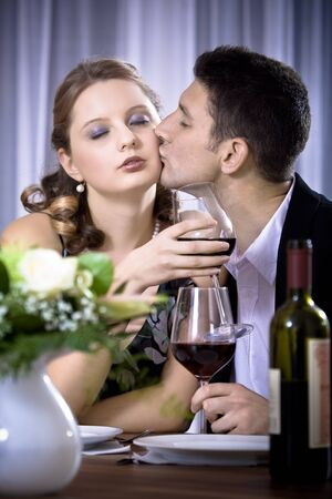 a couple at the diner, man proposing marriage Stock Photo - 10040701