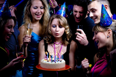 birthday adult: birthday party with many young people