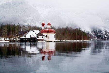 berchtesgaden: Lake Koenigsee in Alps at winter, Germany, Europe Stock Photo