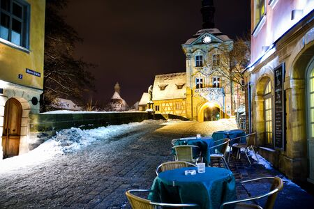Night scenes of Bamberg in Germany, Obere Bruecke.