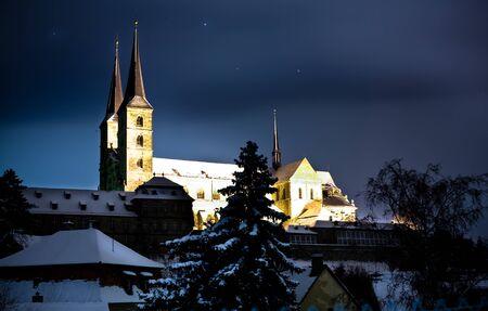 Night scenes of Bamberg in Germany, cloister Michelsberg. Stock Photo - 10039810