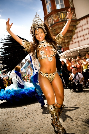 COBURG, GERMANY - JULY 10: An unidentified female samba dancer participates at the annual samba festival in Coburg, Germany on July 10, 2011. Editorial