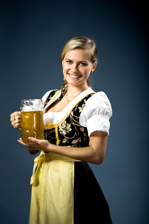 bavaria: portrait of a bavarian woman in the dirndl Stock Photo