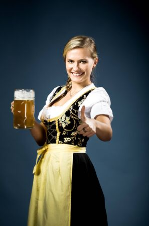 portrait of a bavarian woman in the dirndl photo