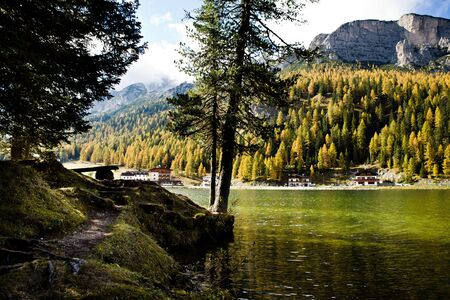 Lago Misurina, Misurina lake in Dolomite Alps, Italy, Europe Stock Photo - 10877627