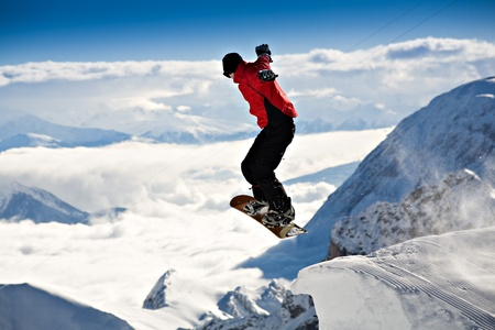 outdoor sports: a snowboarder in action