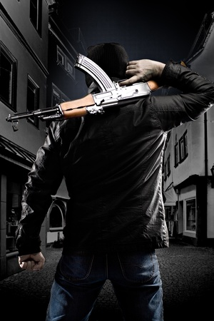 masked terrorist with a kalashnikov submachine gun Stock Photo - 11354662