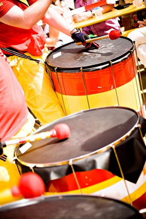A Drums band on the street. Scenes of Samba Festival in Coburg, Germany photo