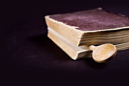 bibliomania: close up shot of a old cookbook Stock Photo